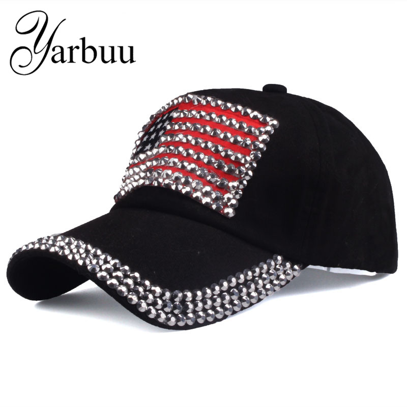 [YARBUU ]Brand cap 2017 new fashion high quality baseball cap for women and men rhinestone denim caps hip hop snapback hat