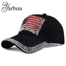 [YARBUU]Brand cap 2017 new fashion high quality baseball cap for women and men rhinestone denim caps hip hop snapback hat