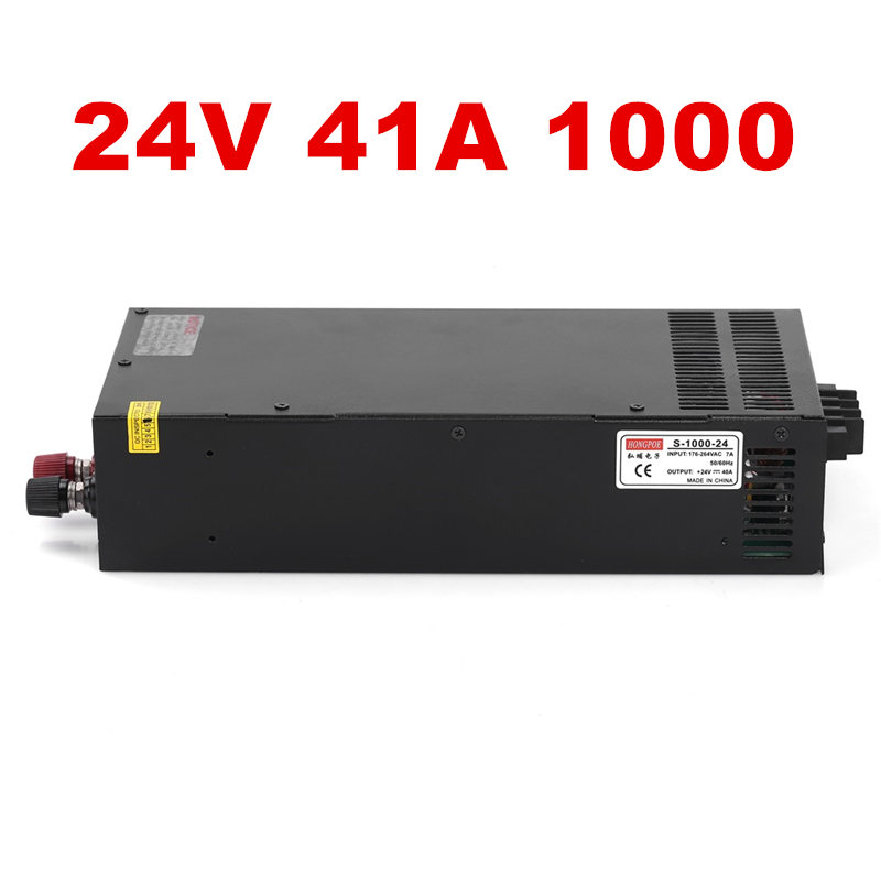 цена на Wholesale 5pcs Industrial grade power supply 1000W 24V Power Supply 24V 41A AC-DC High-Power PSU 1000W S-1000-24