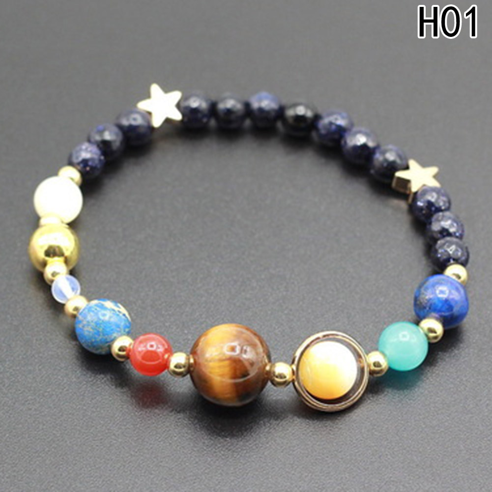 Universe Galaxy the Eight Planets in the Solar System Guardian Star Natural Stone Beads Bracelet Bangle for Women & Men