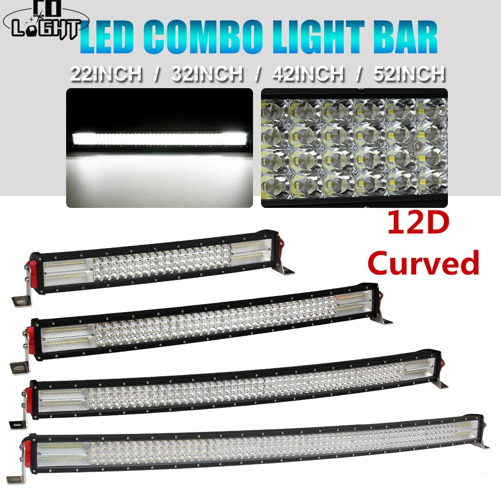 CO LIGHT 12D 22 32 42 52 Inch Curved LED Work Light Bar 924W 744W 564W