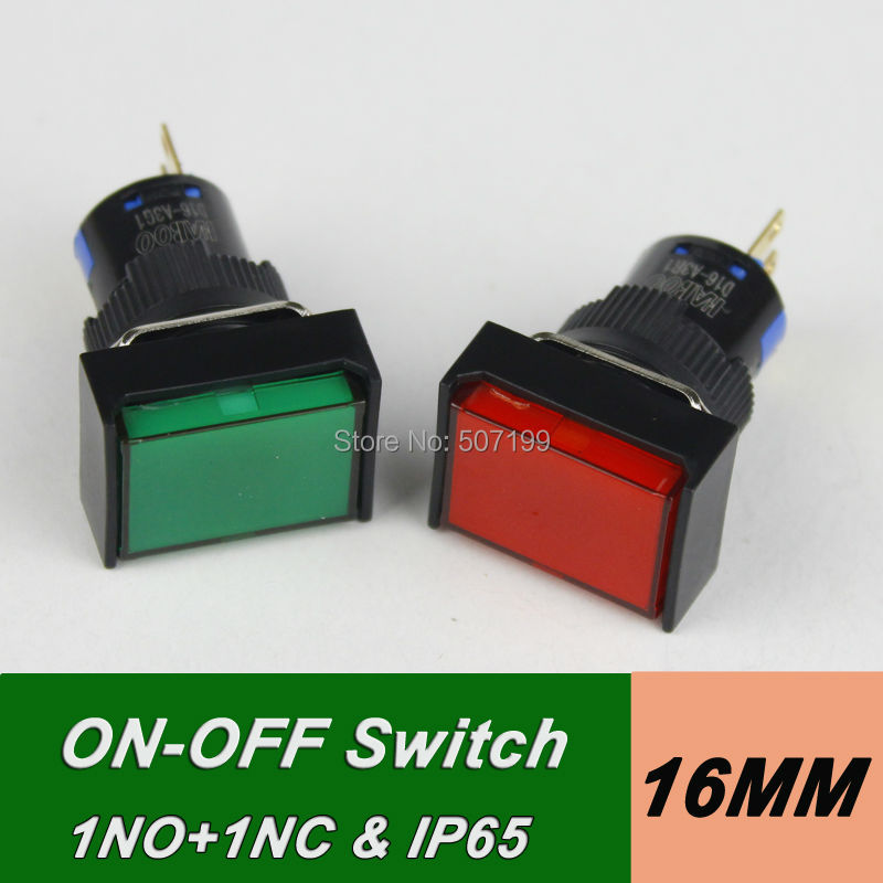 1pcs HABOO SHIPPING FREE on-off push button switch 1NO+1NC SPST auto-lock switch 5A 250V