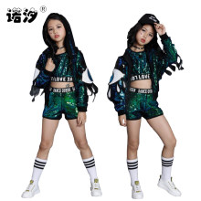 Children clothes girls 2 pcs/sets street dance set girls shirt+trousers 3-20Y girls jazz jacket kids Performance clothing suit(China)