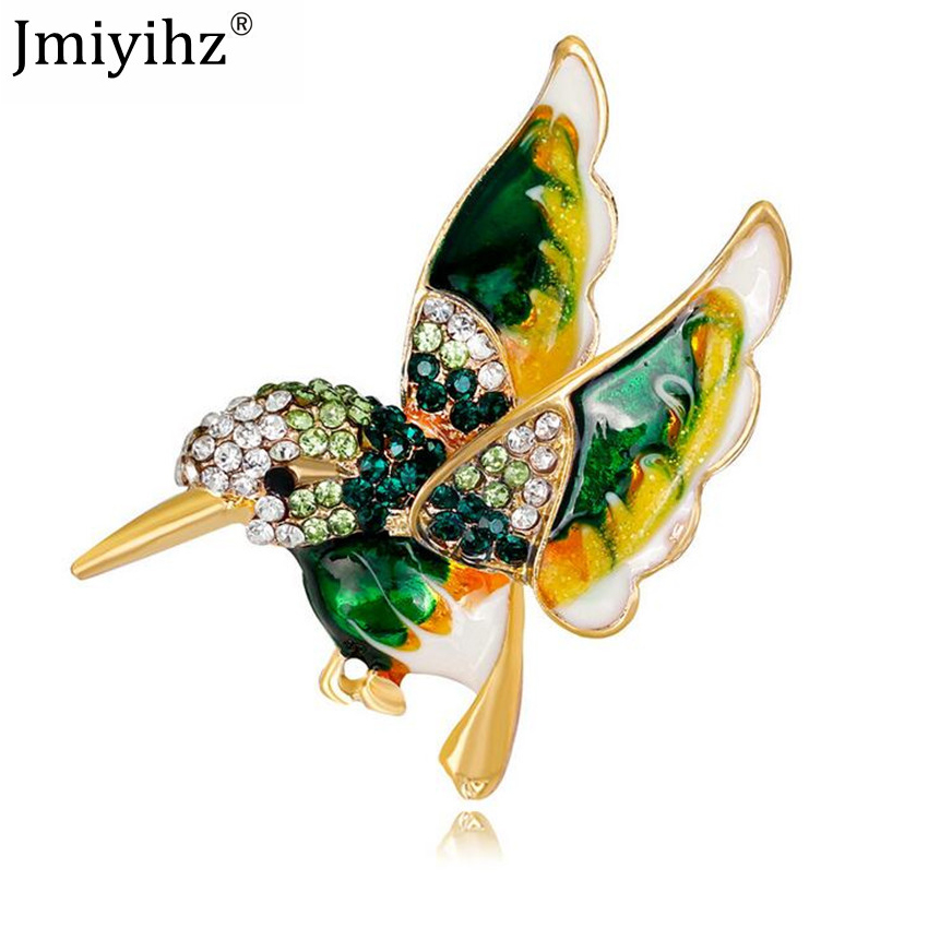 Jmiyihz Cute Rhinestone Drip Oil Red Blue Green Bird Brooches For Women  Dress Collar Pins jewelry 34f3f94bd745