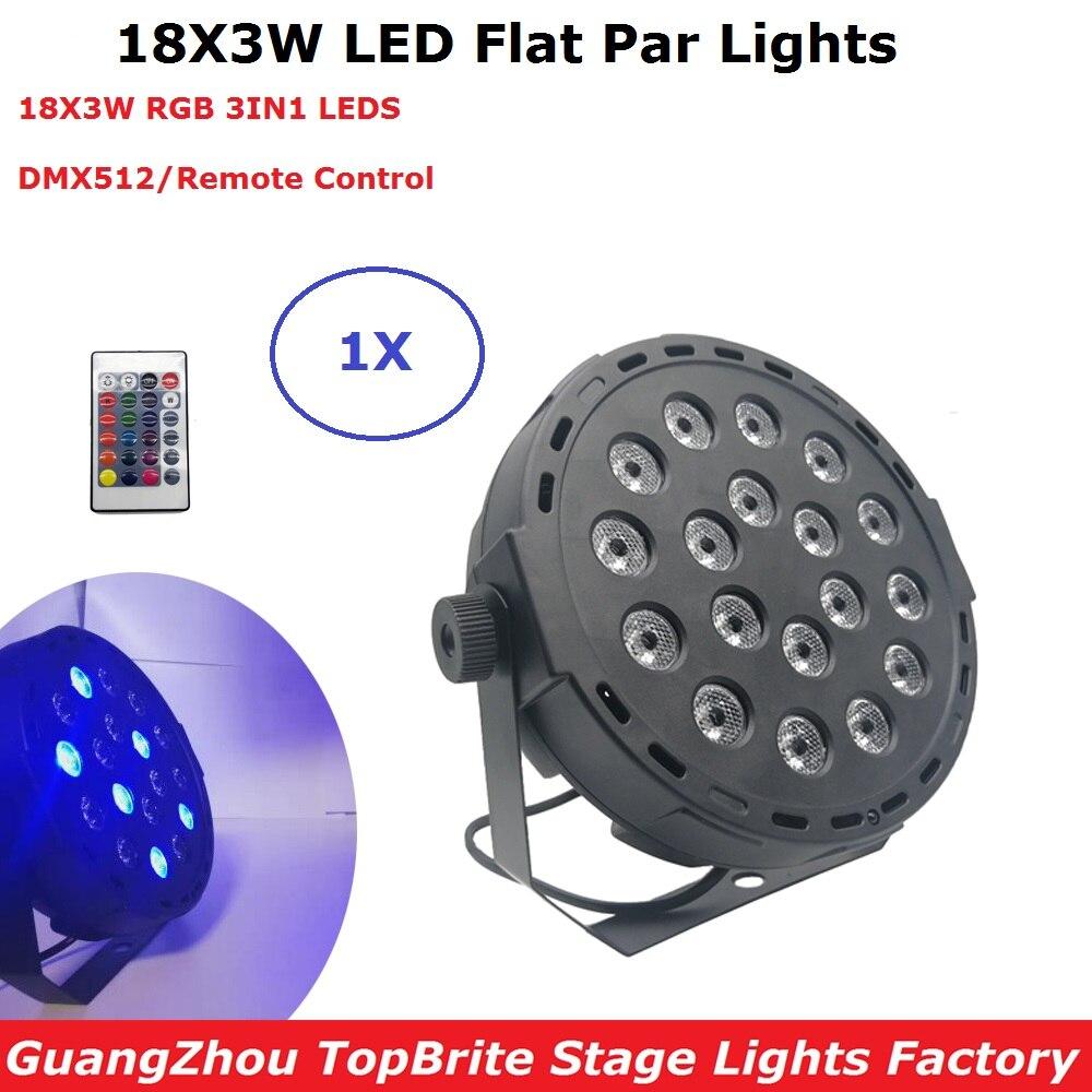 1XLot New Professional LED Stage Lights 18X3W RGB 3IN1 Par LED DMX Stage Lighting Wash Effects DMX512 Master-Slave LED Flat Par