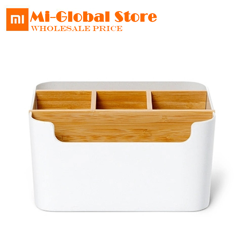 original Xiaomi Bamboo fiber desktop storage box Pens Stationery Makeup Organizer Container For Office Home Desk new arrival Салфетницы