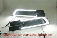 eOsuns led drl daytime running light for Volkswagen Passat b8 with moving yellow turn signals and blue night running light