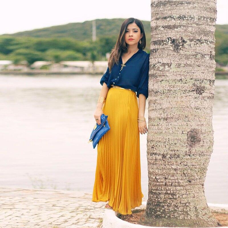 497b7ed711 Calidad Colores Larga Graceful Elástico Maxi Alta Longitud Falda Amarillo Piso  Cintura Por Encargo Plisada Faldas ...
