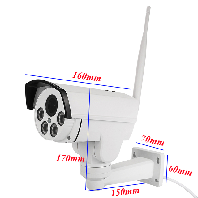 HI3516C+SONY IMX323 1080P Wifi PTZ IP Camera HD Bullet Outdoor 5X Zoom Pan Tilt 2.7-13.5mm 2MP Wireless IR Onvif SD Card Camera