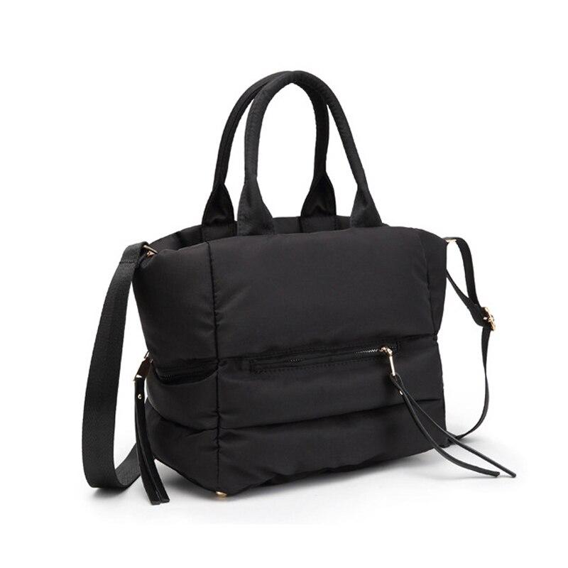 Image 3 - LOSLANDIFEN 2020 Fashion Women Winter Space Bale Handbag Casual  Cotton Totes Bag Down Feather Padded Lady Shoulder Crossbody  BagTop-Handle Bags