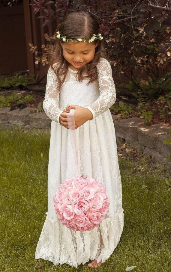 Cute Lace Long Sleeves Flower Girl Dresses For Weddings 2015 Little Girls Vestido De Daminha Communion Dress Custom Made
