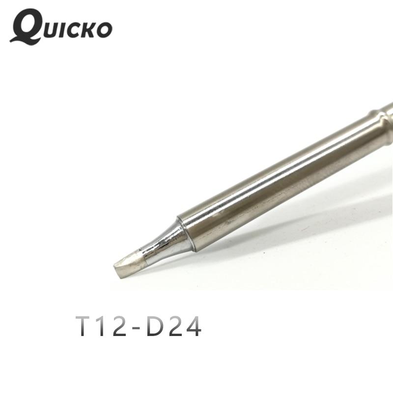 QUICKO T12-D24 D52 Shape D Series Welding Iron Tips For FX9501/951/907 T12 Handle OLED&STC-LED T12 Soldering Station 7s Melt Tin