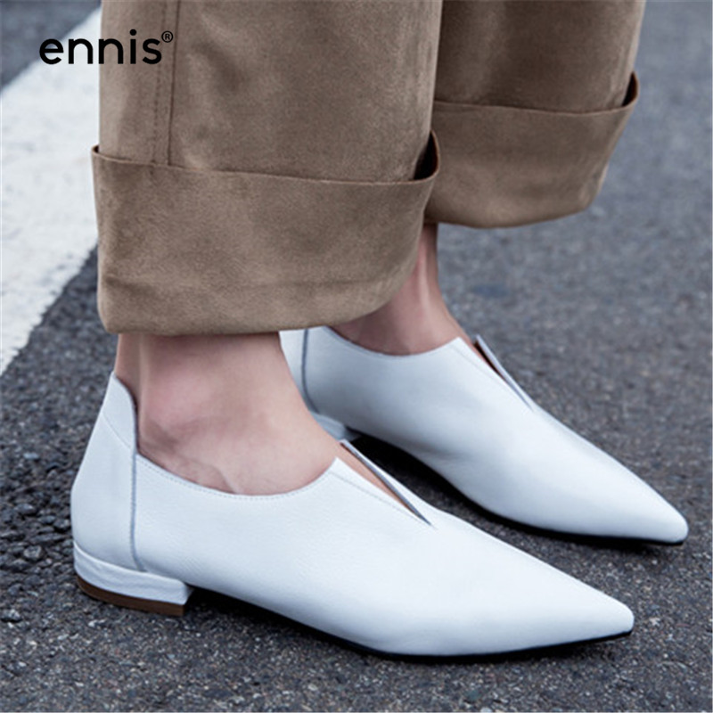 ENNIS 2019 V Neck Genuine Leather Soft Skin Spring Modern Girl Pointed Toe Slip On Casual Flats Young Lady Pregnant Shoes C840