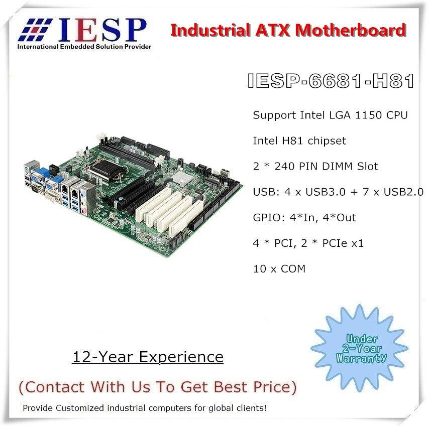 ATX industrial motherboard, H81 chipset, LGA1150 CPU, 10*RS232, 2*GLAN, 4*USB3.0, 7*USB2.0, 4* PCI, 1*PCIe 16X, 2*PCIe 1X