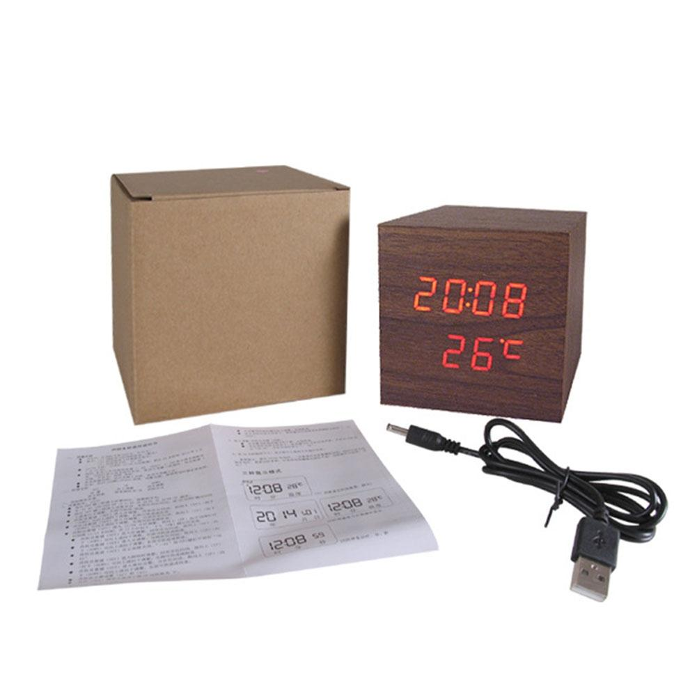 LanLan Electronic LED Acoustics Control Sensing Wooden Clock Alarm Clock with Snooze Thermometers Function
