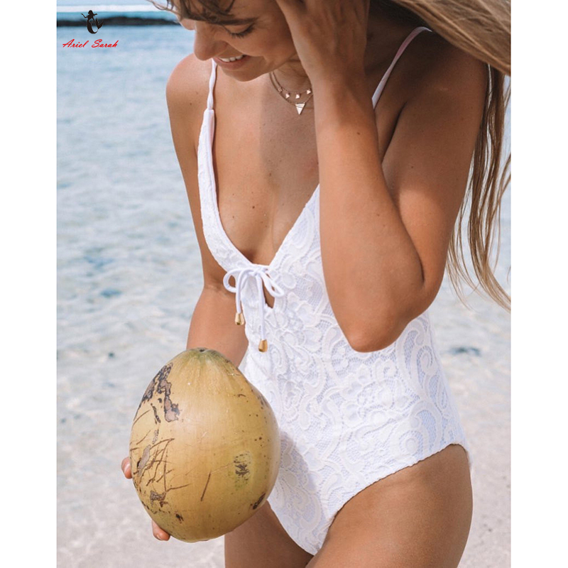 Ariel Sarah 2018 Sexy Spitze Badeanzug Bademode Frauen Halter Badeanzug Weiß Stück Badeanzug Body Bandage Monokini