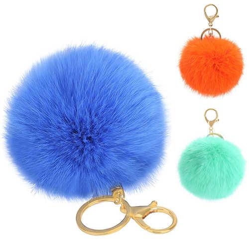 Hot Furry Bola Anel Chave Keychain Saco Chave Pendurada Acessórios Cauda de Pele de Coelho 8959