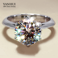 Lost Money Promotion S925 Stamp Real 925 Sterling Silver Ring Set 8mm 2 Carat CZ Diamond