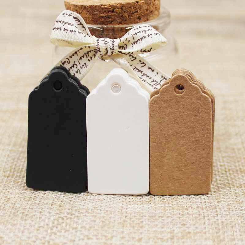 2018 Hot Sale 100pcs Paper Gift Tags Card White/black/kraft Scallop Festival Wedding Decoration Blank Mini Luggage Label 2*4cm