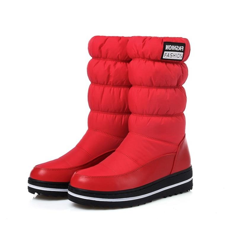 REAVE CAT  Plus Size 35-43 New Snow Boots Women Warm Cotton Down Shoes Waterproof Boots Fur Platform Mid Calf Boots Black A816