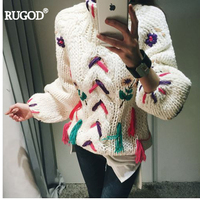 RUGOD 2017 Autumn Winter New Arrival Fashion Sweet Embroidery Floral Tassel Wool Knitted Sweater Hand Turnlebneck