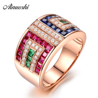 AINUOSHI Square Cut Green Red White Blue Stone Rings 925 Sterling Silver Rose Gold Color Rings