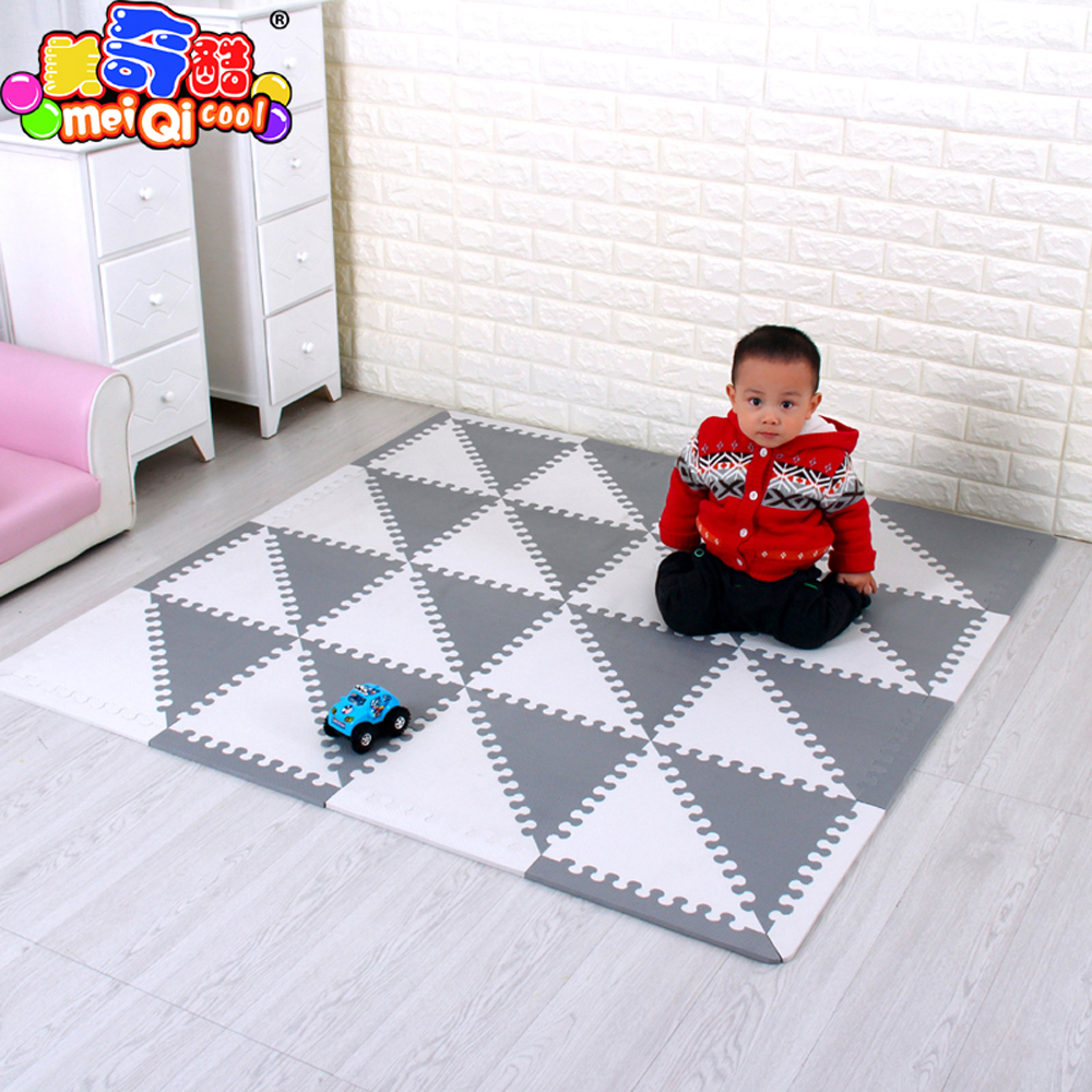 mei qi cool Baby Puzzle EVA Foam Mat Children Crawling Play Mat Kids Game Mats Gym Soft Floor Game Carpet triangle 35CM*1CM GREY 30 30 1 cm thick education baby game pad puzzle mats baby play soft crawling mat non toxic kids gym play mat educational carpet