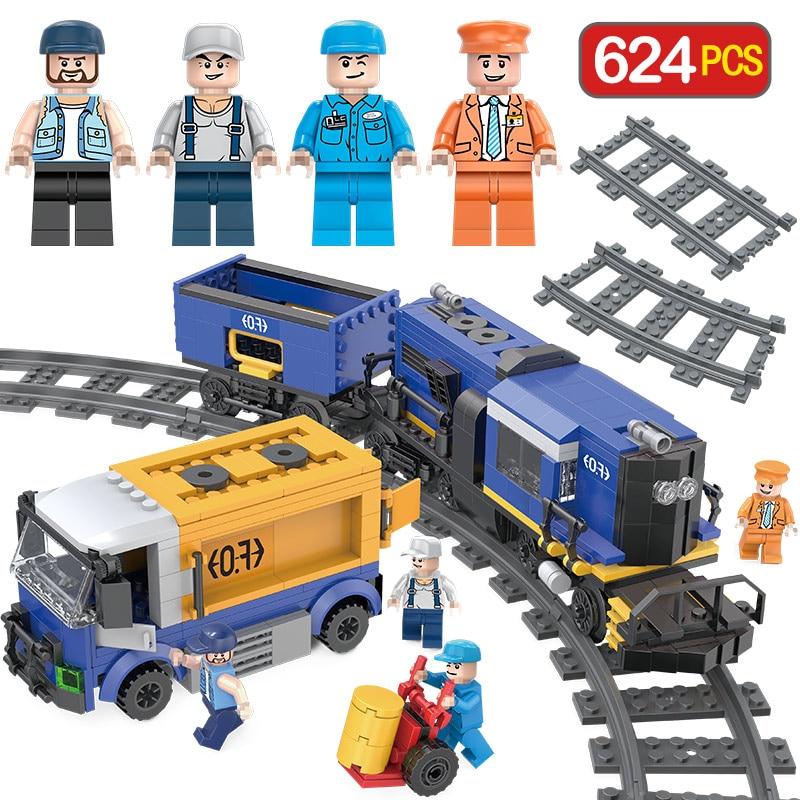 LegoINGLYS Ville Designer Technique Chemins De Fer Compatible Transit Fret Train Blocs Brique Jouets Pour Enfants Cadeau D'anniversaire
