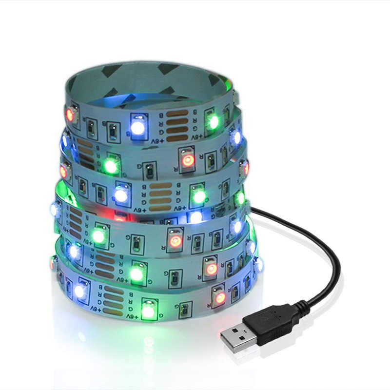 Lampu Strip LED RGB TV USB Power 5 V 6 V SMD 3528 LED Strip Putih 0.5 M 1 M 2 M 3 M 4 M 5 M Dekorasi Natal Lampu TV Pencahayaan Latar Belakang