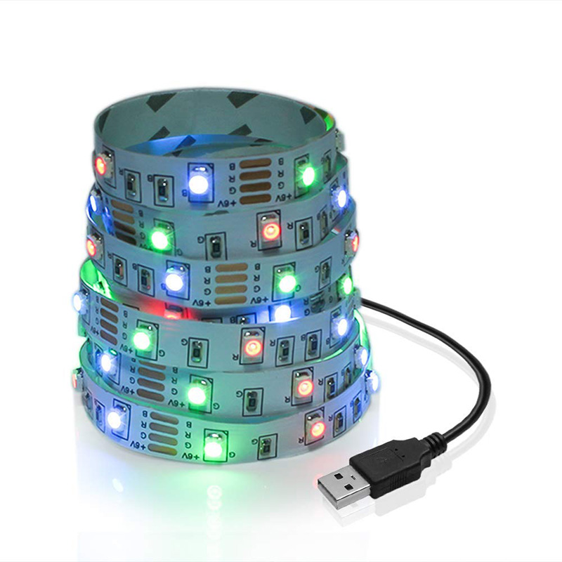 RGB LED strip light TV USB Power 5V 6V SMD 3528 LED Strip White 0.5M 1M 2M 3M 4M 5M Christmas Decor lamp TV Background Lighting kinlams 5v 50cm 1m 2m 3m 4m 5m usb cable power led strip light smd2835 3528 christmas desk lamp tape for tv background lighting