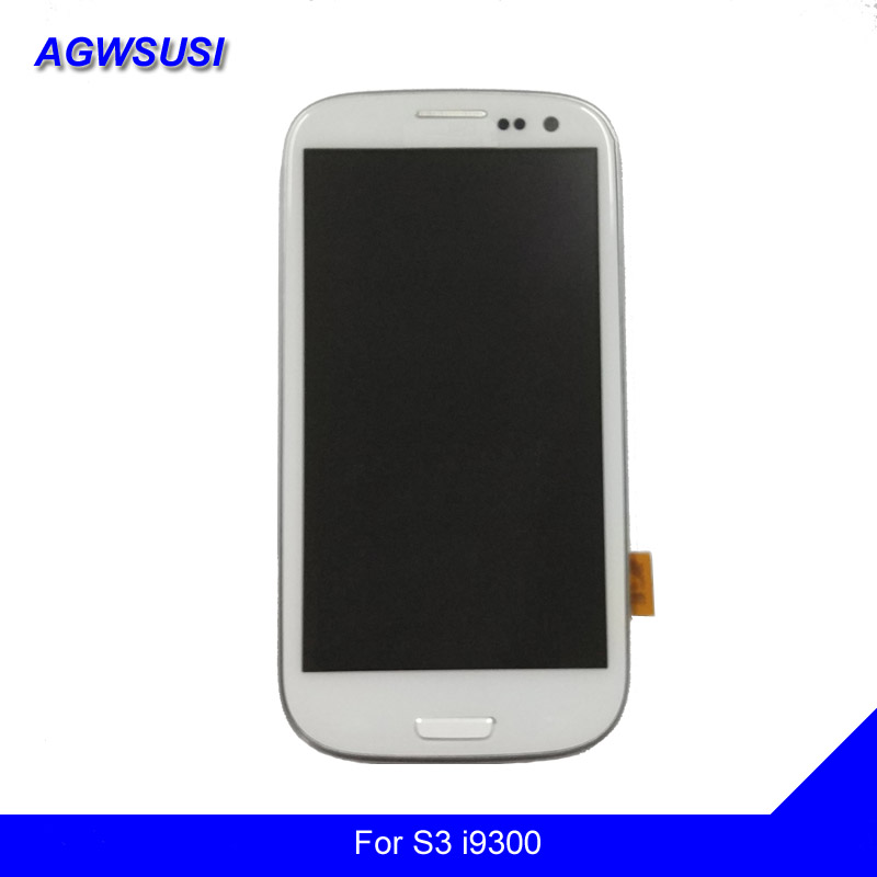 Per Samsung Galaxy S III S3 i9300 i9301 i9305 i535 i747 Touch Screen Digitizer Sensor + Display LCD Pannello del Monitor telaio di montaggio