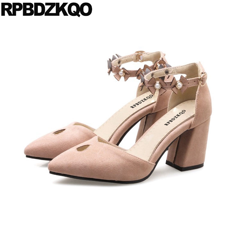 Pink Pointed Toe Pumps Ankle Strap Sandals Big Size 11 43 Kawaii High Heels Designer Brand Shoes Women Flower Pearl Chunky Suede summer new pointed thick chunky high heels closed toe pumps with buckle ankle wraps sweet sandals women pink black gray 34 40