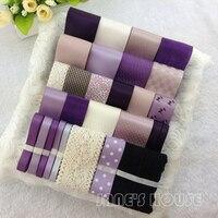 28yards/set Mixed Purple Ribbon,Children Kids Hair Bow Accessory,Grosgrain/Satin Ribbons,Printed Ribbon Set for DIY