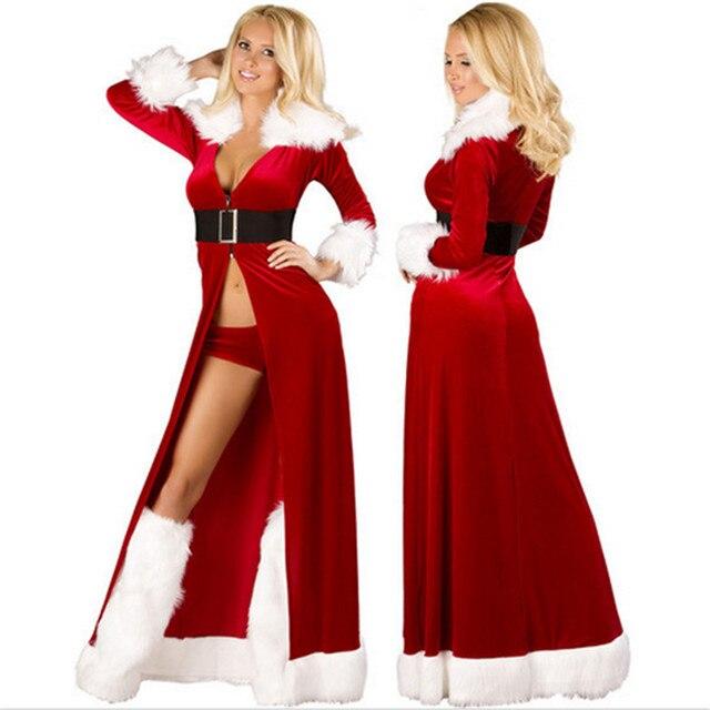 d021ae6ed0ccd Nueva sexy alta calidad de Navidad mujeres de Santa Cosplay traje rojo  trajes del vestido de
