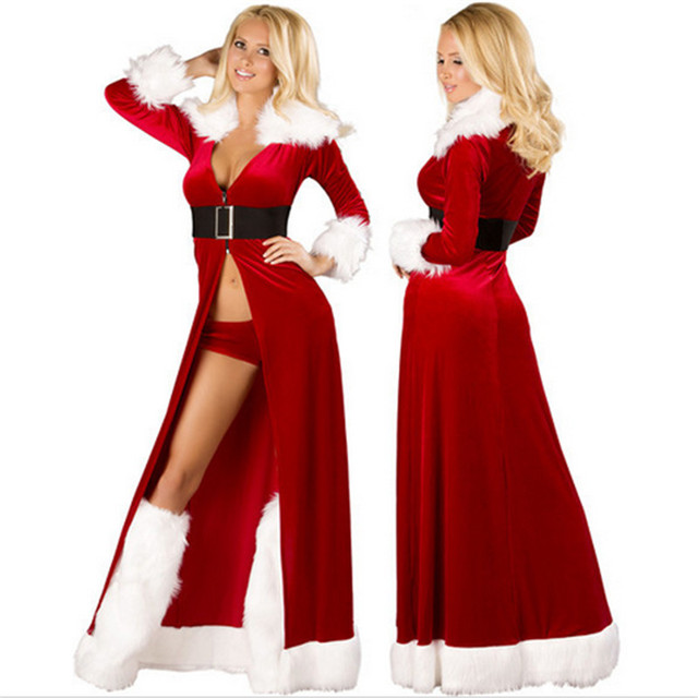 19d9a7ca783 new Sexy high quality Xmas Adult Women Santa Cosplay Costume Red robes  Fancy Dress Plus size code Christmas Costumes For Women