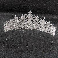 Tall Crystals CZ Cubic Zirconia Wedding Bridal Royal Tiara Diadem Crown Women Prom Hair Jewelry Accessories CH10241