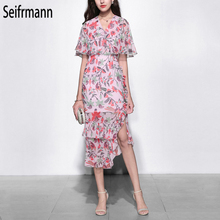 Seifrmann New 2019 Women Spring Summer Dress Runway Fashion Designer V-Neck Ruffles Floral Printed Elegant Vintage Dresses набор аксессуаров для ванной elan gallery elan gallery mp002xu02i2u