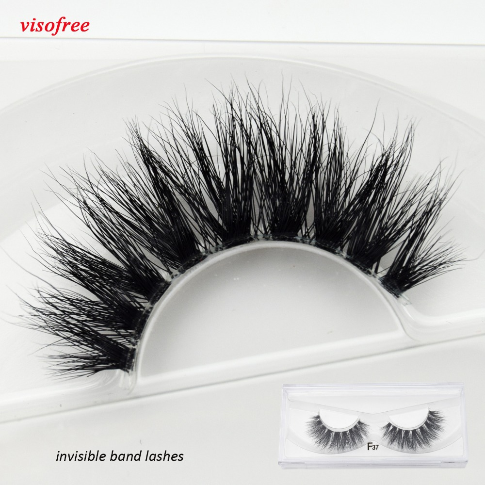 02b3e02d167 Visofree F37 Transparent Band False Eyelashes Mink Eyelashes Clear Band  EyeLashes