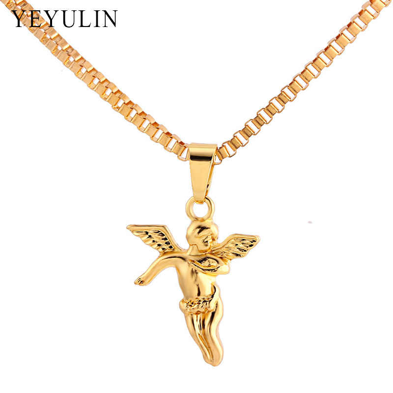 High Grade Alloy Angel Pendant Necklace Pure Gold Color Chain Hip-hop Necklace Jewelry For Men