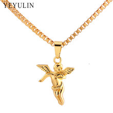 High Grade Alloy Angel Pendant Necklace Pure Gold Color Chain Hip-hop Necklace Jewelry For Men(China)