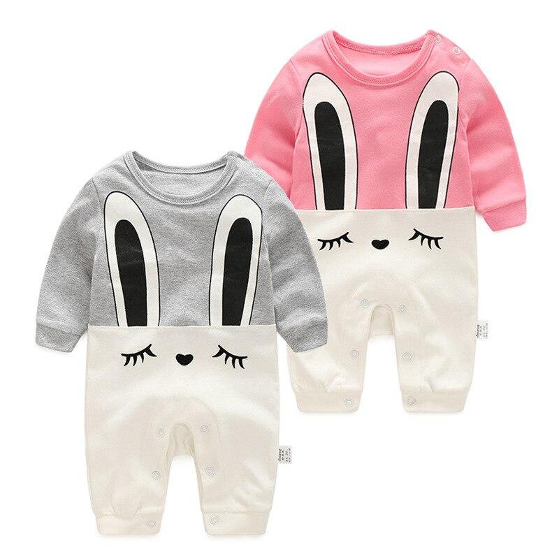 Foshnja 100% pambuku Lepuri Vajza djem romper 2016 i ri Rroba gri rozë bezhë foshnje një copë xhins kostume bebe