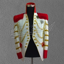 G-dargon Men singers bigbang stage show white suit jacket star blazer chain royal dress concert costumes S-5XL free shipping
