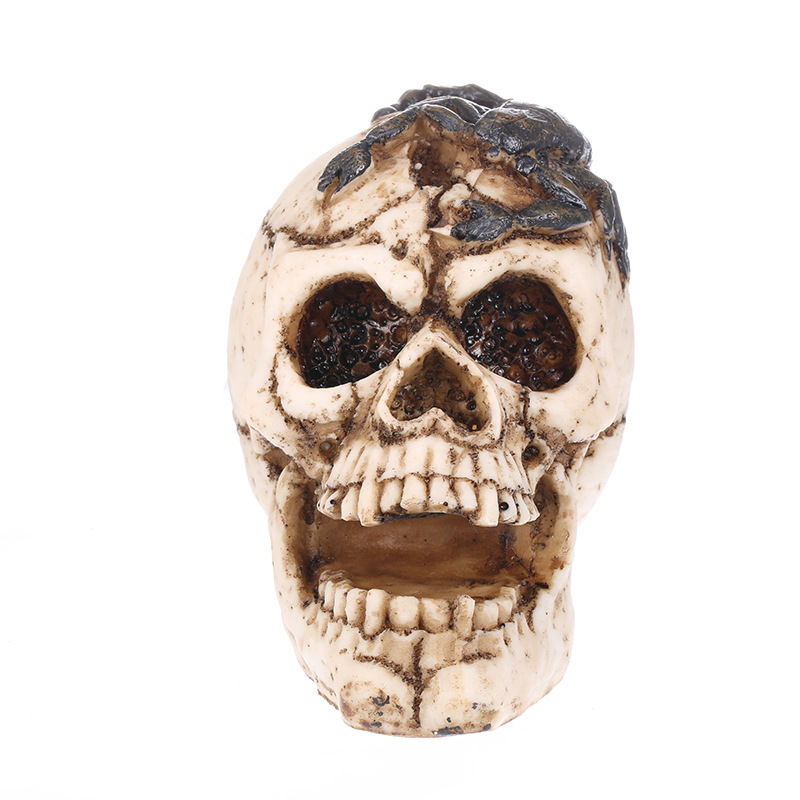 Resin Craft White Skull Head Carving Statue Halloween Party Decoration Sculpture Ornaments Home Accessories