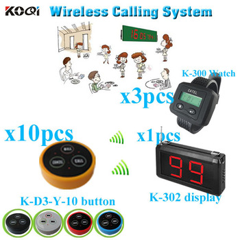 Wireless  Restaurant  Pager System made in China  long range strong signal   (1 display + 3 watch pager +10 table bell button)