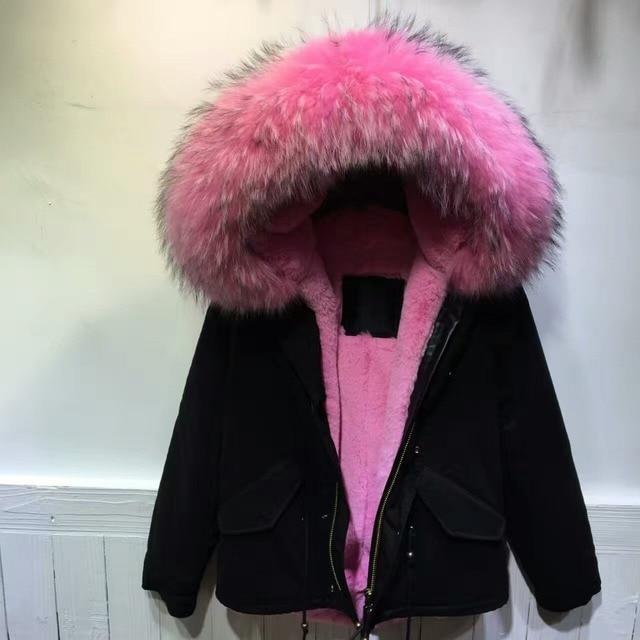 Jacke mit pelz pink
