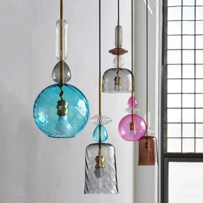 Nordic Stained Glass Pendant Lights Led Loft Modern Hanging Lamp Candy Luminaire for Dining Room Kitchen Home Decor Fixtures E27