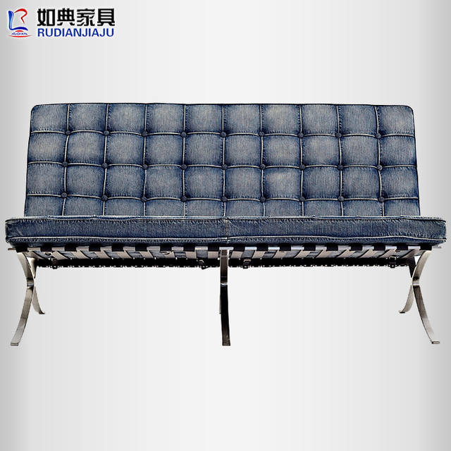 Barcelona Chair As Typical European Fashion Denim Sofa Minimalist Modern Home Really Pibu Recliner