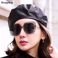 Harppihop Genuine Leather European America Style Female Hat Lambskin Hat Beret Hat Jazz Hip Hop Artist