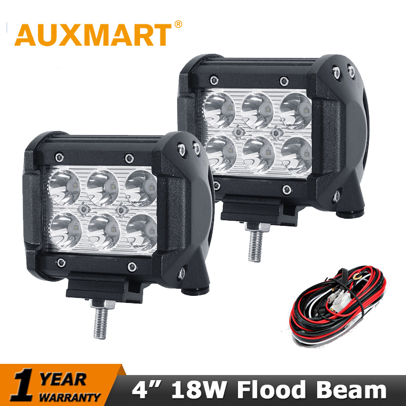 Auxmart 4 inch 18W CREE chips LED Work Light Bar Flood Beam Offroad Driving Fog Lamp Jeep 12V/24V Truck SUV ATV 4x4 4WD - VIP Store store