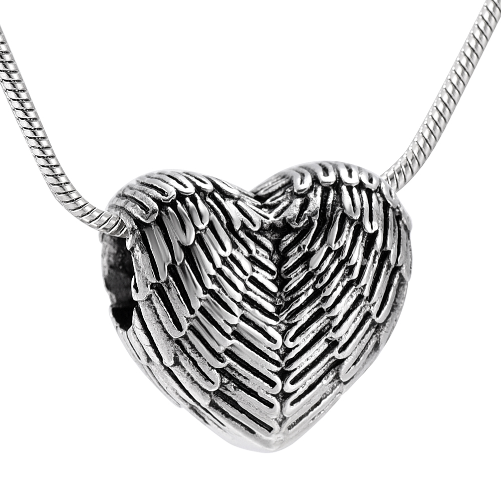 цена на KLH9990-1 Feather Angel Wings Heart Pendant Memorial Urn Necklace Stainless Steel Cremation Jewelry for Ashes or Memorial